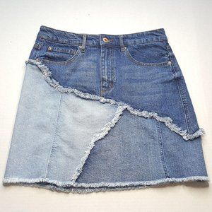 ELLA MOSS Scrolling Seam Skirt 29 Blue Denim